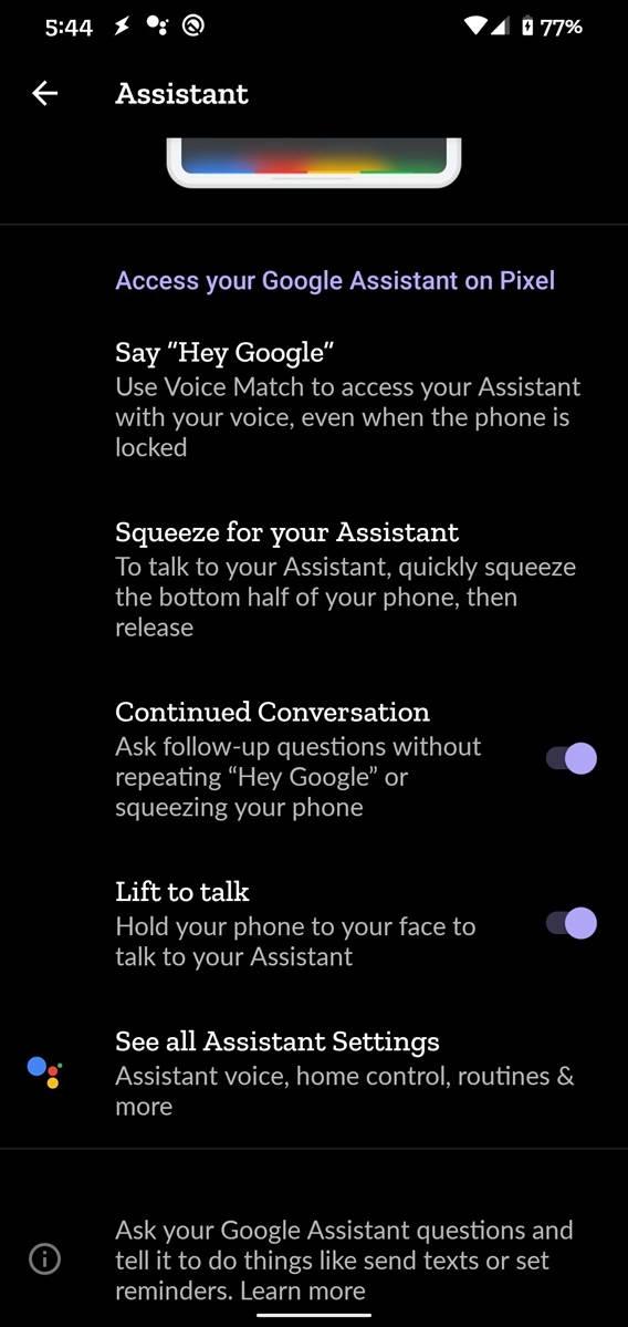Asystent Google opcja podnieś aby rozmawiać