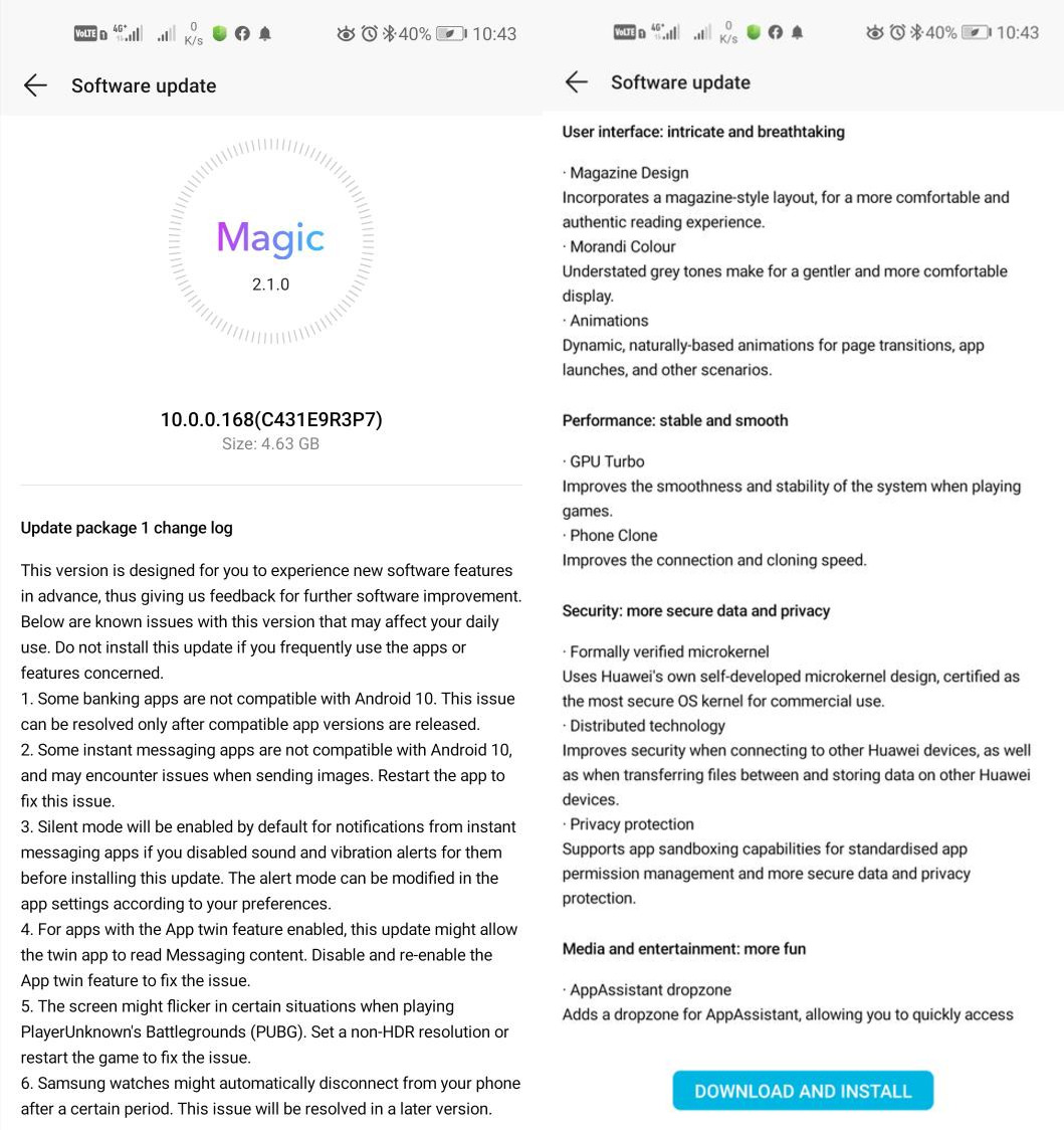 Honor 20 Pro View 20 aktualizacja do Android 10 z EMUI 10 Magic UI 3.0