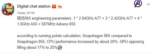 Qualcomm Snapdragon 865 Adreno 650 Cortex-A77 kiedy premiera procesor plotki przecieki wycieki