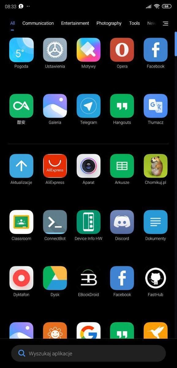 MIUI 11 laucnher aplikacji Xiaomi szuflada aplikacj aktualizacja