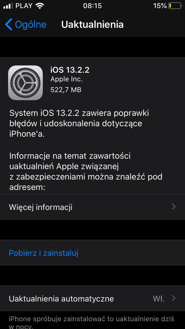 aktualizacja iOS 13.2.2 co nowego nowości opinie czy warto instalować Apple iPhone