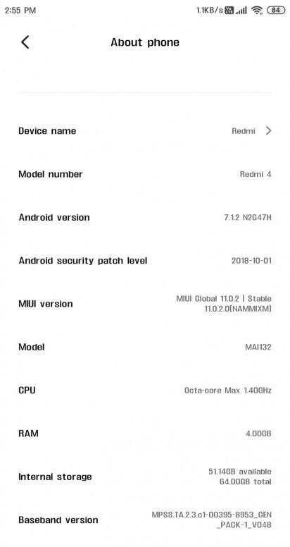 MIUI 11 Global aktualizacja Redmi Note 4