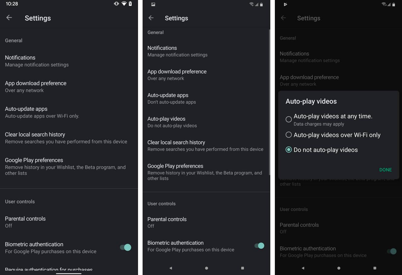 Sklep Play Google android przełącznik autoodtwarzanie wideo