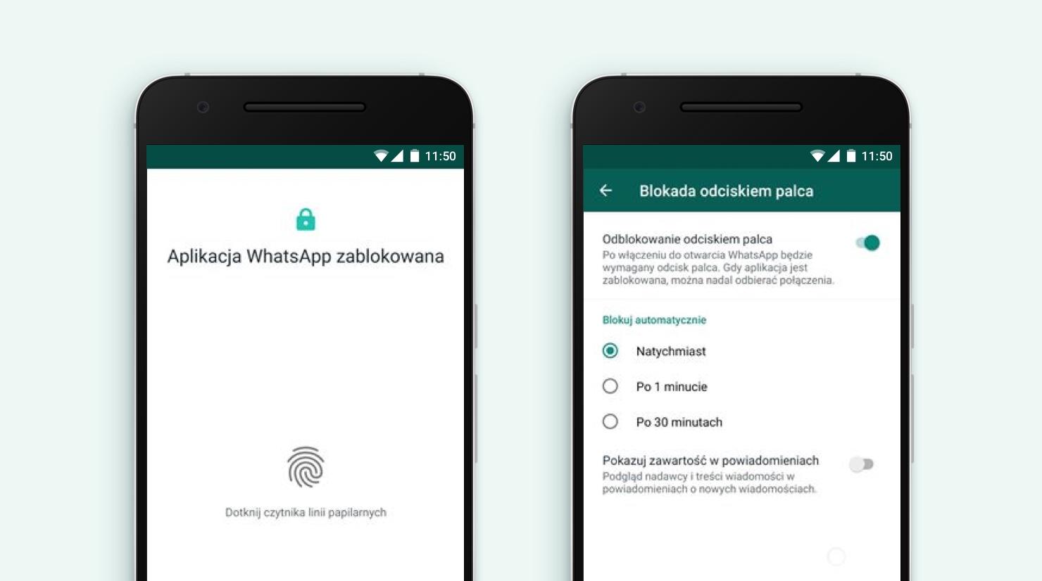 WhatsApp na Android jak włączyc czytnik linii papilarnych w aplikacji