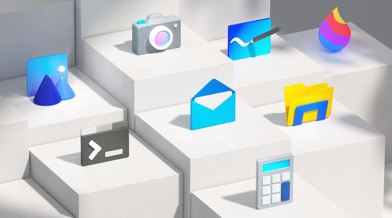 nowe logo Windows 10 Fluent Design Microsoft nowe ikony ikonki