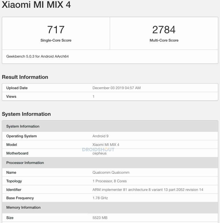 kiedy premiera Xiaomi Mi Mix 4 plotki przecieki wycieki specyfikacja techniczna czy zadebiutuje na rynku Geekbench