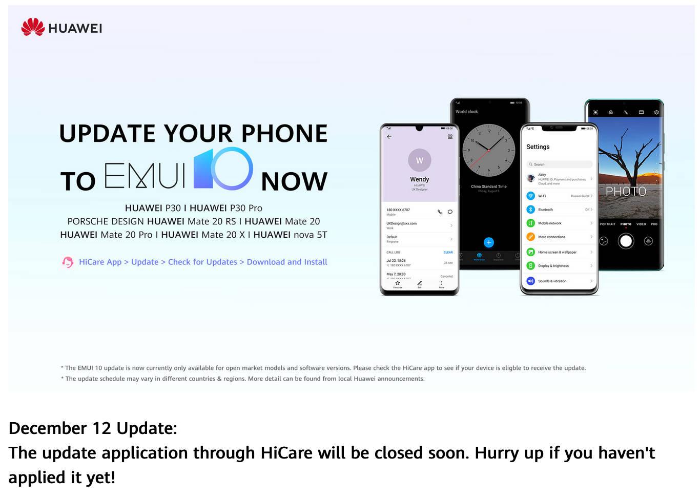 aktualizacja EMUI 10 Stable Android 10 dla Huawei P30 Pro Mate 20 Pro jak zainstalować poprzez HiCare