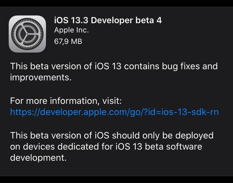 iOS 13.3 beta 4 co nowego aktualizacja Apple iPhone nowości nowe funkcje watchOS 6.1.1 tvOs 13.3 iPadOS 13.3 macOS Catalina 10.15.2