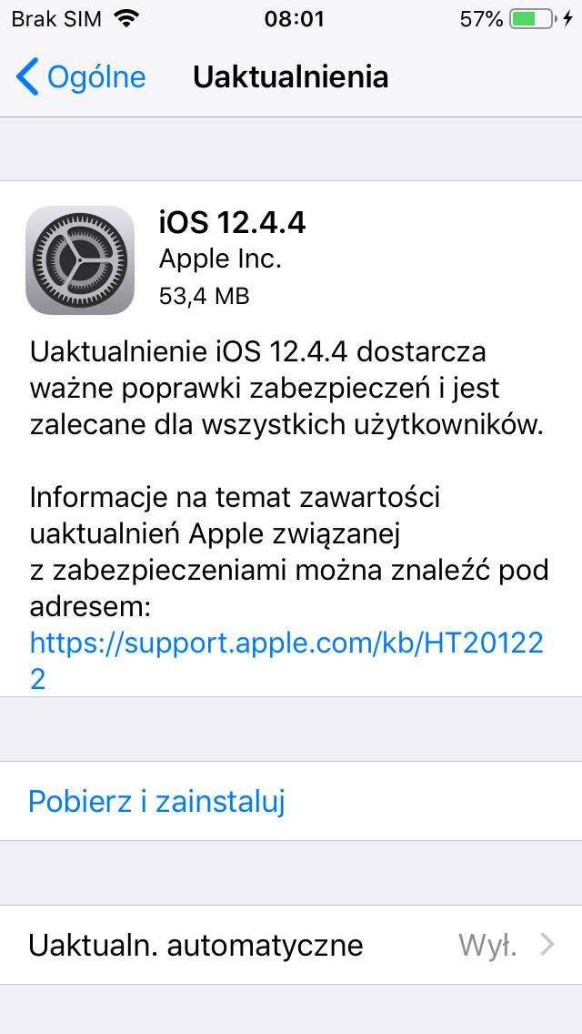 iOS 12.4.4 aktulizacja dla Apple iPhone 5s iPhone 6 iPad Air co nowego nowości opinie czy warto instalować