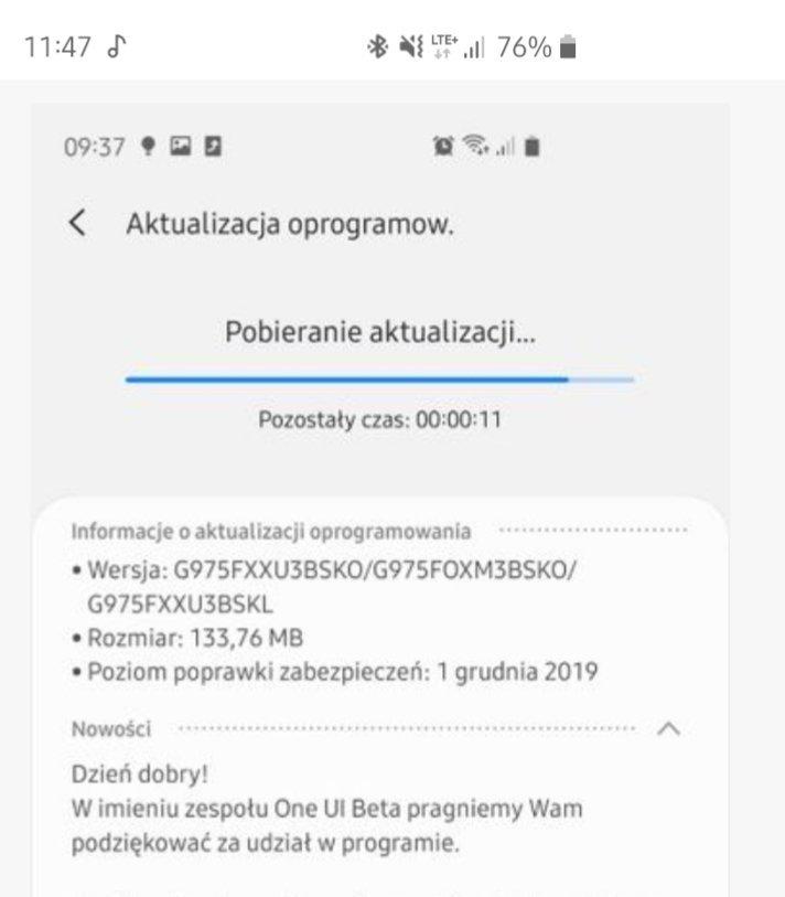 Samsung Galaxy S10 aktualizacja One UI 2.0 z Android 10 XEO w Polsce