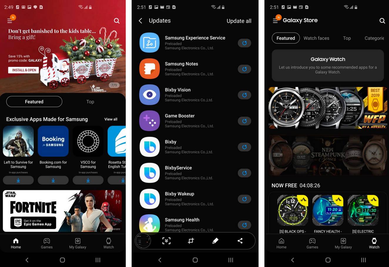 Samsung nowy Galaxy Store z dark mode ciemny motyw One UI 2.0 aktualizacja