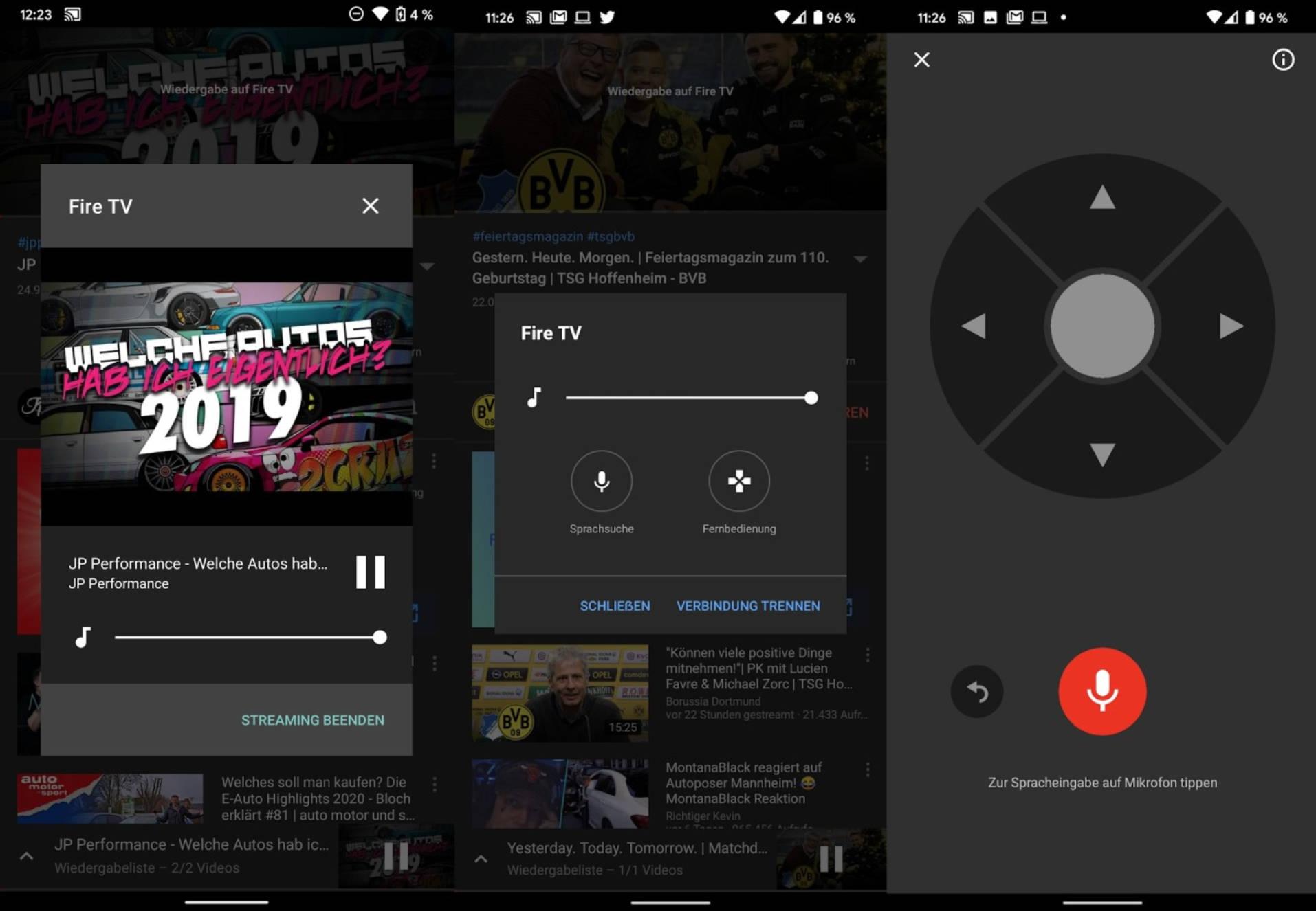 YouTube na Androida aplikacje Google pilot TV nowe menu przesyłania