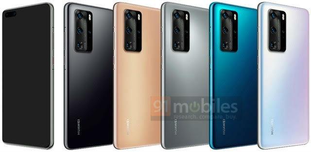 Huawei P40 Pro jakie kolory obudowy plotki przecieki wycieki rendery specyfikacja dane techniczne