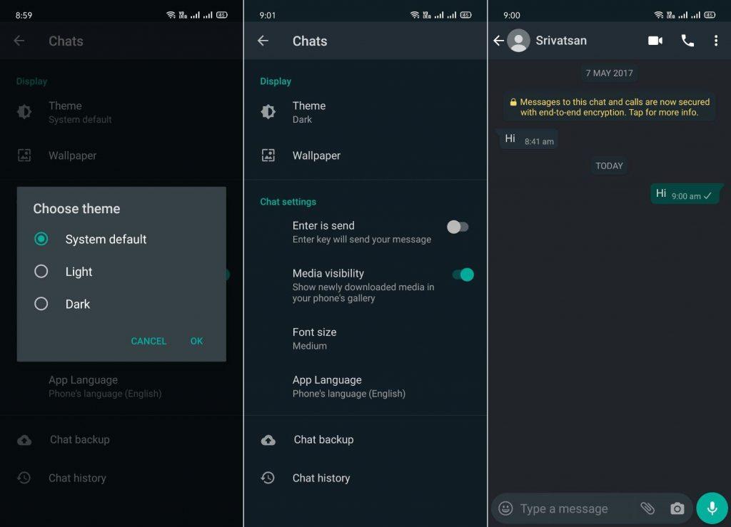 WhatsApp dark mode ciemny motyw jak włączyć Android beta