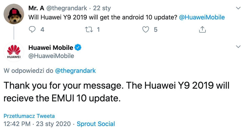 aktualizacja EMUI 10 dla Huawei Y9 2019 Android 10 kiedy