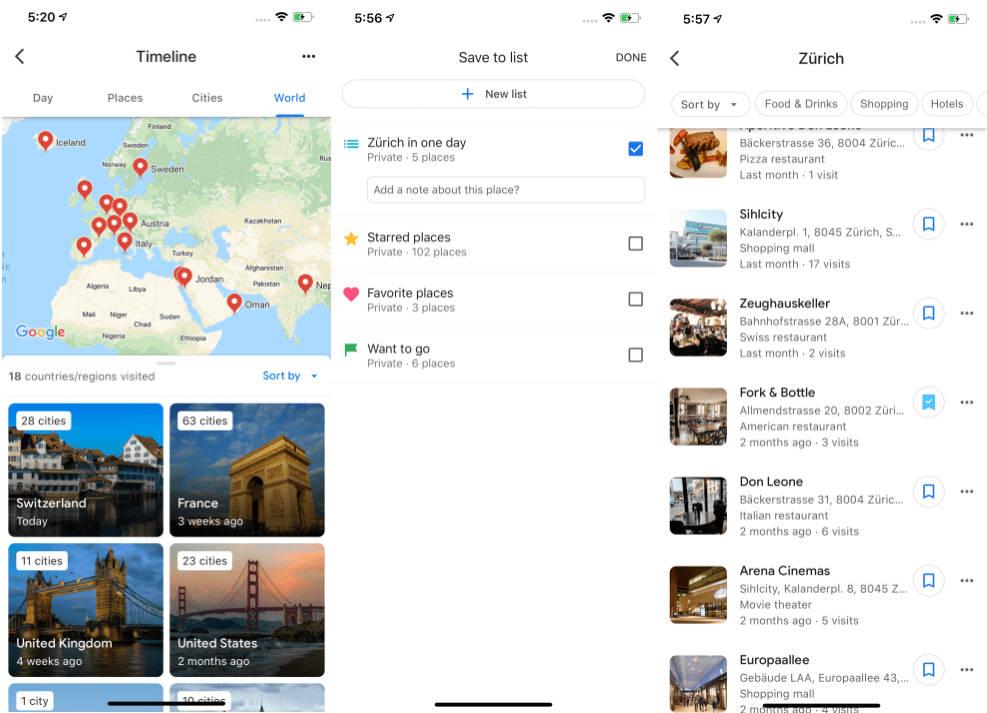 Mapy Google Maps na iOS aktualizacja nowa oś czasu