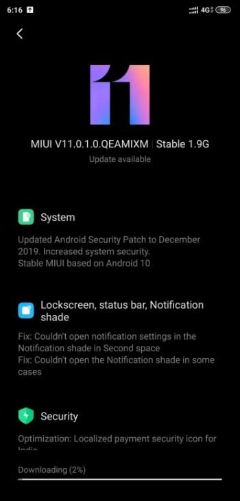 Aktualizacja Android 10 MIUI 11.0.1.0 dla Xiaomi Mi 8