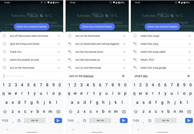 asystent Google sugestie wprowadzanie danych klawiatura