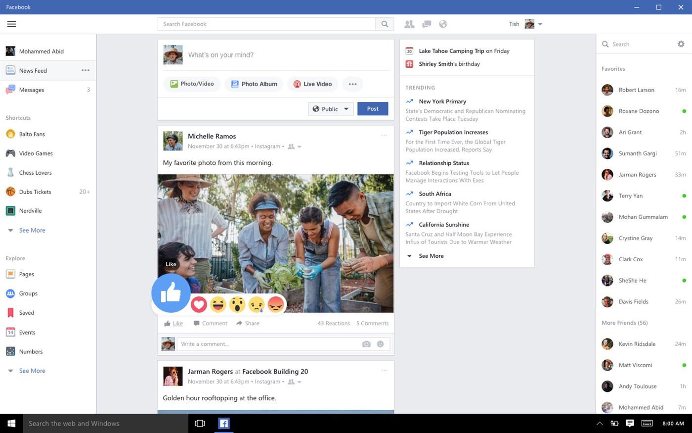 Facebook dla Windows 10 Messenger koniec wsparcia