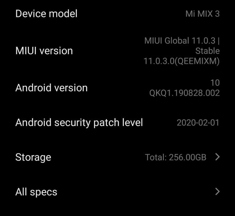 Xiaomi Mi Mix 3 aktualizacja Android 10 global z MIUI 11