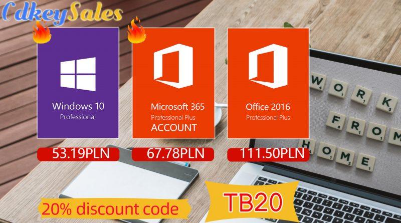 promocja na klucze Windows 10 Pro pakiet Microsoft Office 2019 Office 365 przecena praca zdalna