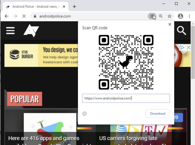 Google Chrome Canary współdzielenie stron kody QR dino