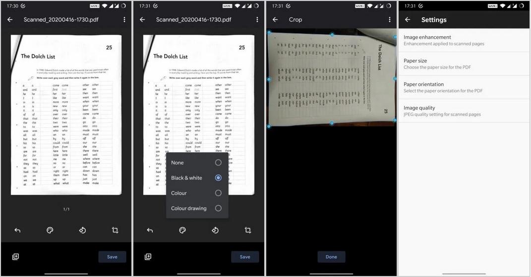 Dysk Google Drive skaner dokumentów Material Design