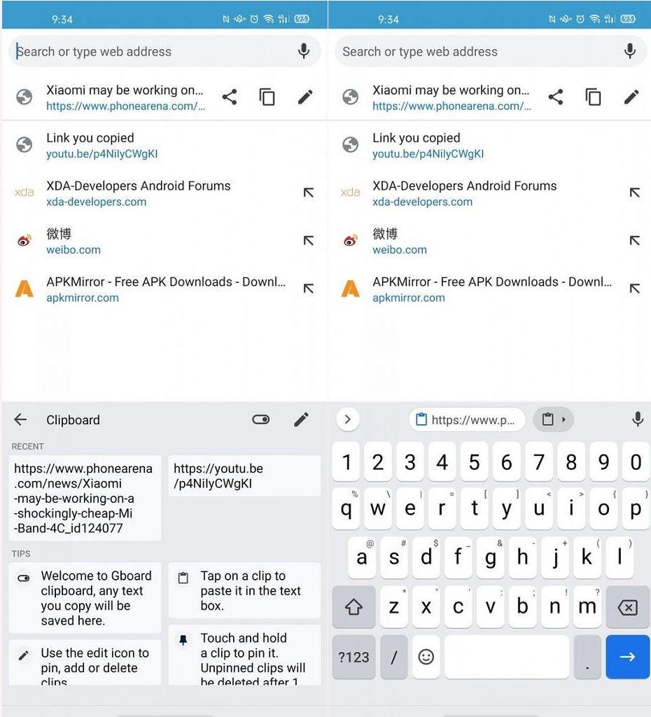klawiatura Google Gboard sugestie schowka