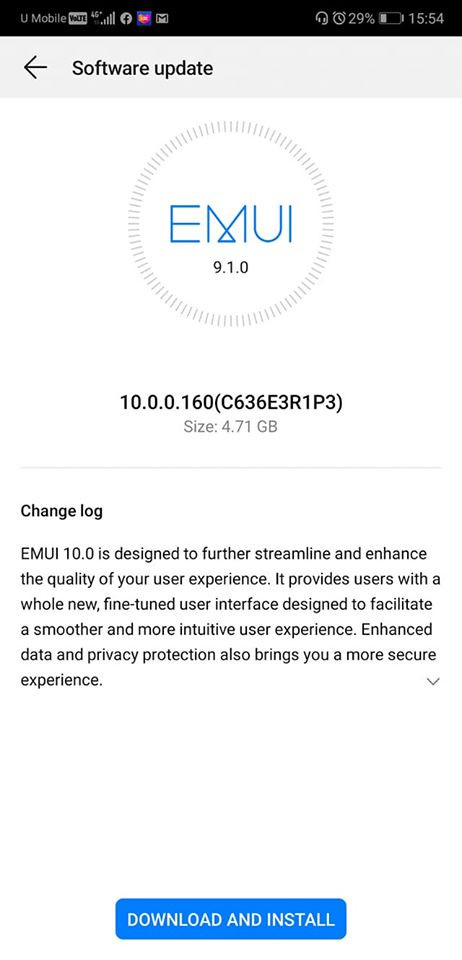 aktualizacja Android 10 EMUI 10 Stable dla Huawei P20 Pro
