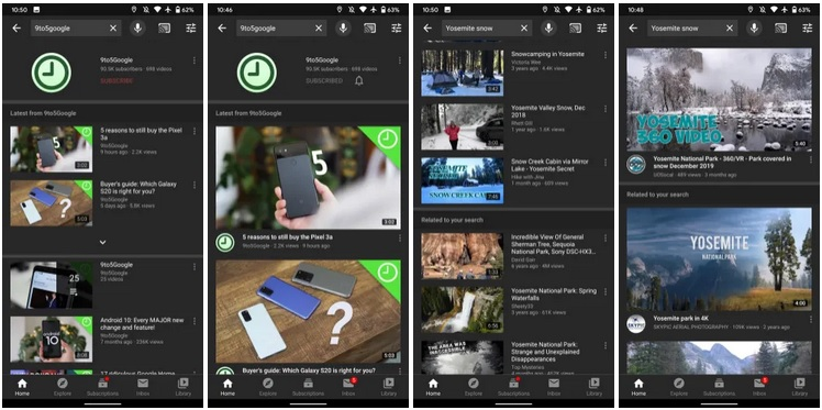 YouTube na Androida miniaturki filmów