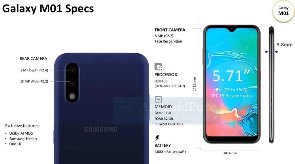Samsung Galaxy M01 cena kiedy premiera plotki przecieki wycieki specyfikacja dane techniczne