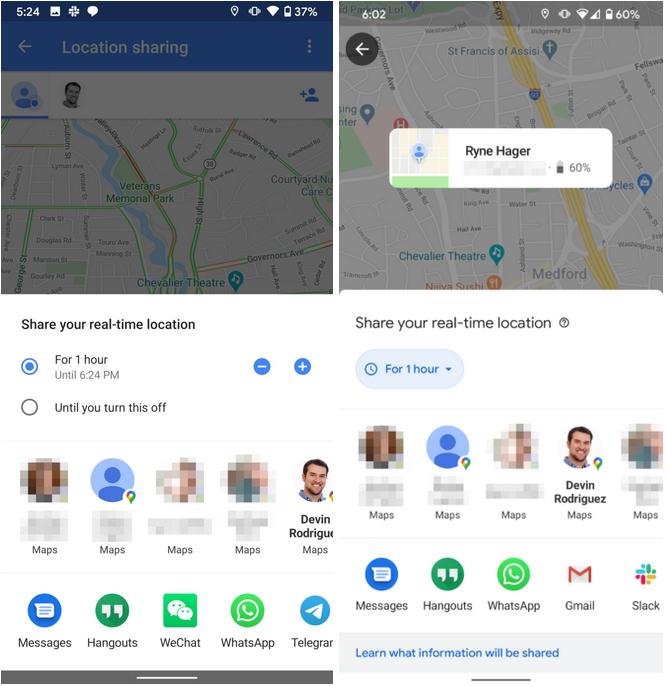 aplikacja Mapy Google Maps nowe udostępnianie lokalizacji znajomym