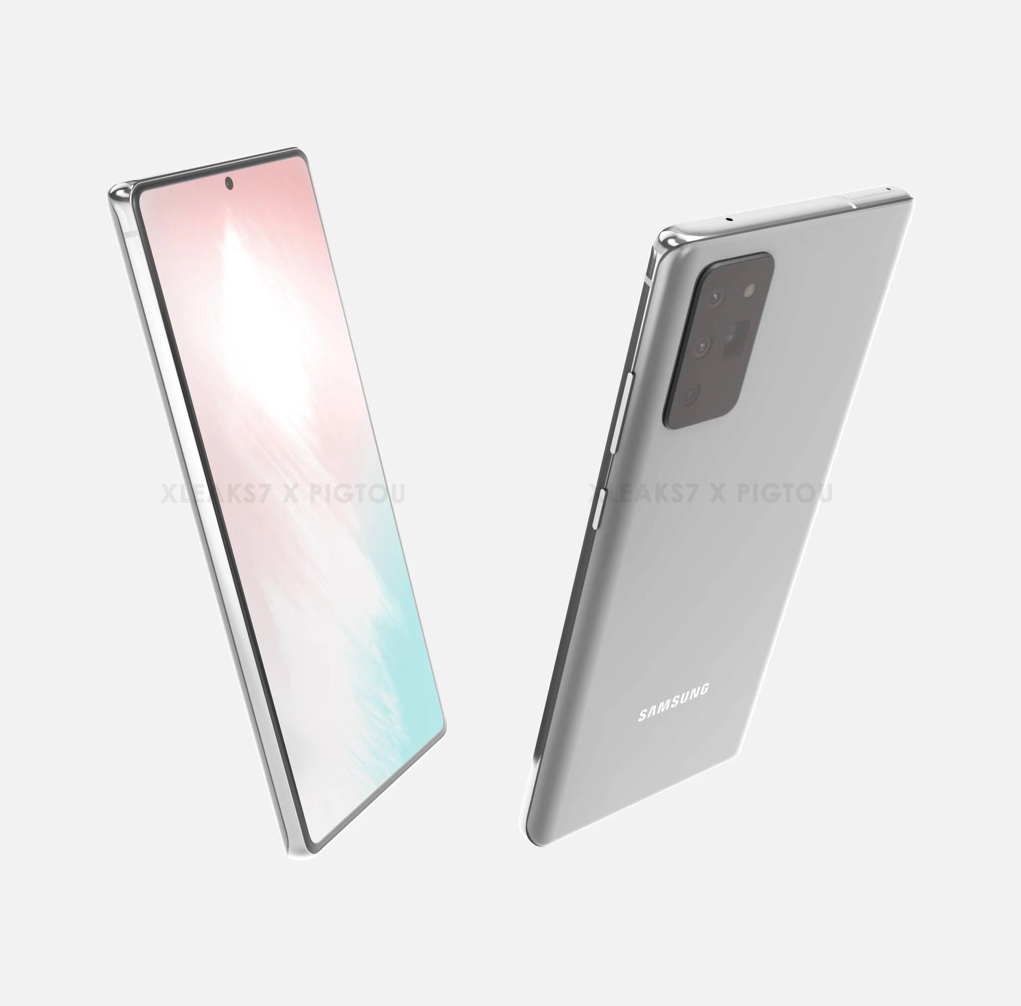 Samsung Galaxy Note 20 rendery design wygląd plotki przecieki wycieki specyfikacja dane techniczne