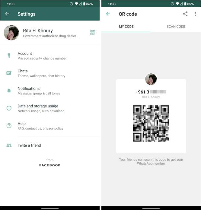 WhatsApp beta dzielenie profili przez kody QR