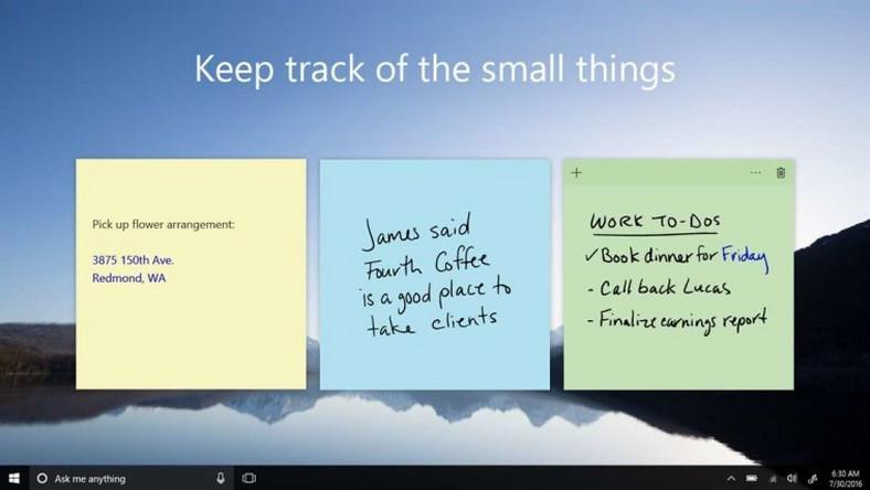 Aktualiacja Sticky Notes dla Windows 10 aplikacja notatki