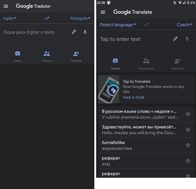 Tłumacz Google dark mode ciemny motyw Android