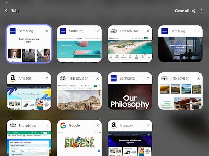 Samsung Internet beta przełącznik otwartych kart