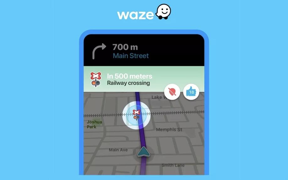 aplikacja Waze ostrzeżenia przejazdy kolejowe alerty