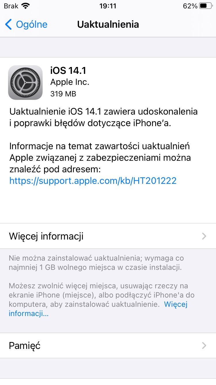 aktualizacja iOS 14.1 co nowego nowości wykaz zmian czy warto instalować iPadOS 14.1 Apple iPhone ipad