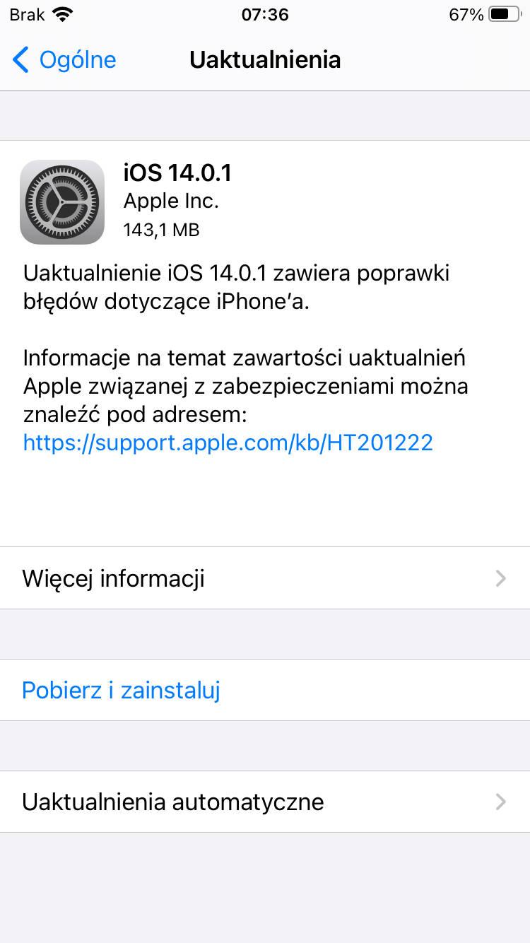 aktualizacja iOS 14.0.1 iPadOS 14.0.1 czy warto instalować co nowego nowości zmiany Apple iPhone opinie