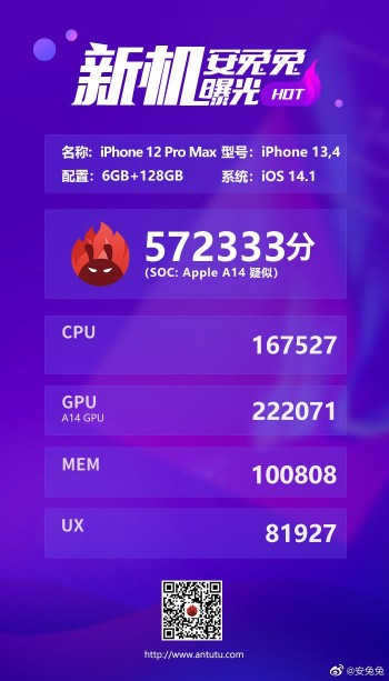Apple A14 Bionic iPhone 12 Pro Max benchmark AnTuTu