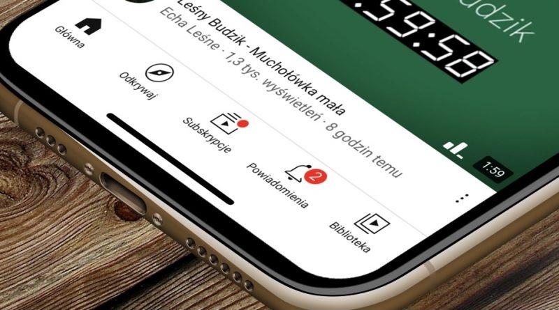 YouTube Android pasek ikony iOS