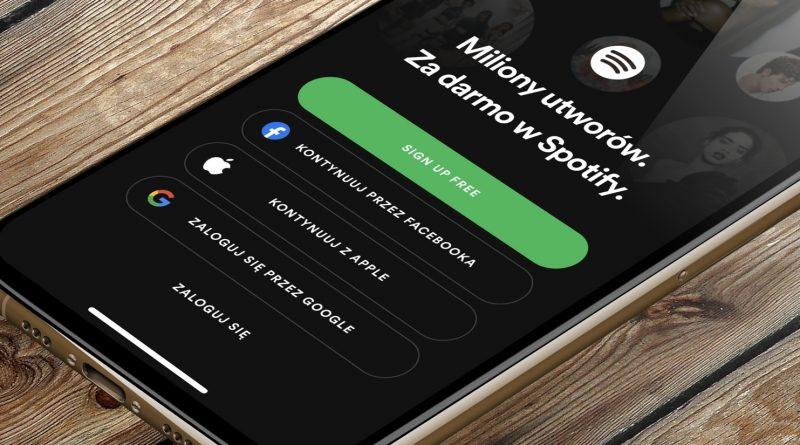 aplikacja Spotify opcje logowania konto Google