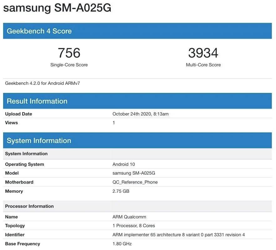 kiedy premiera Samsung Galaxy A02s specyfikacja dane techniczne Geekbench