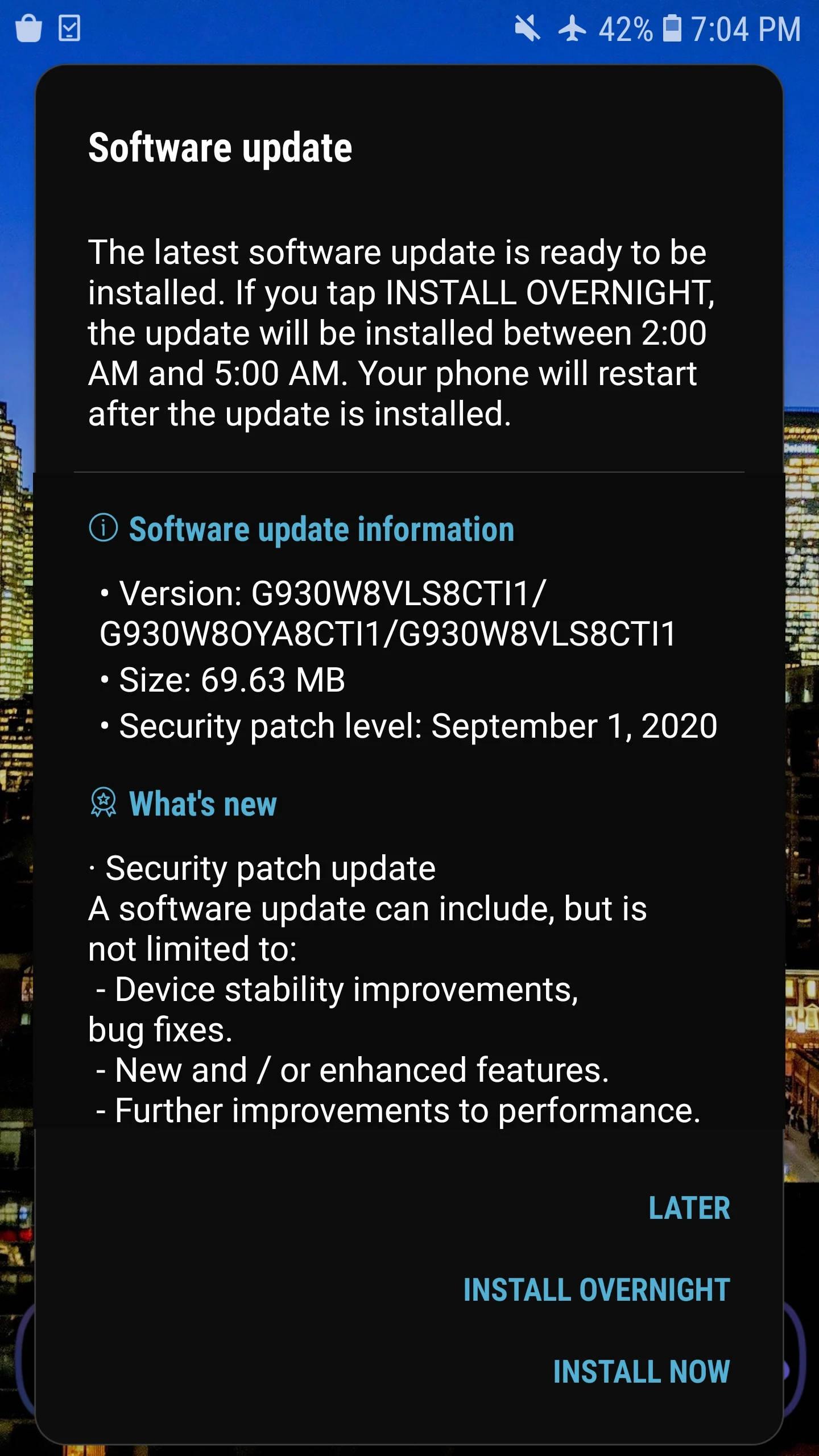 wrześniowa aktualizacja dla Samsung Galaxy S7 Edge