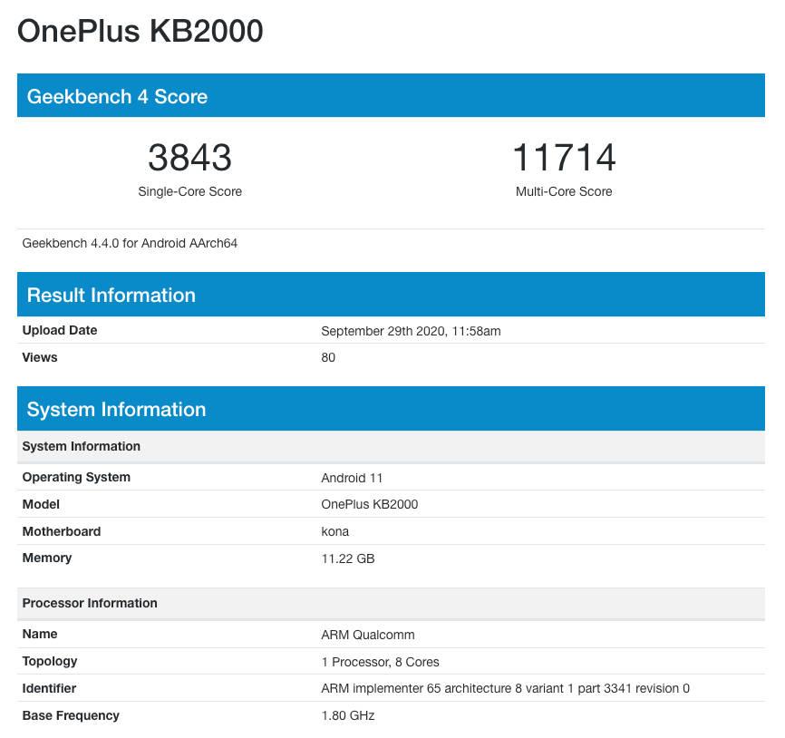 OnePlus 8T 5G specyfikacja dane techniczne Geekbench kiedy premiera