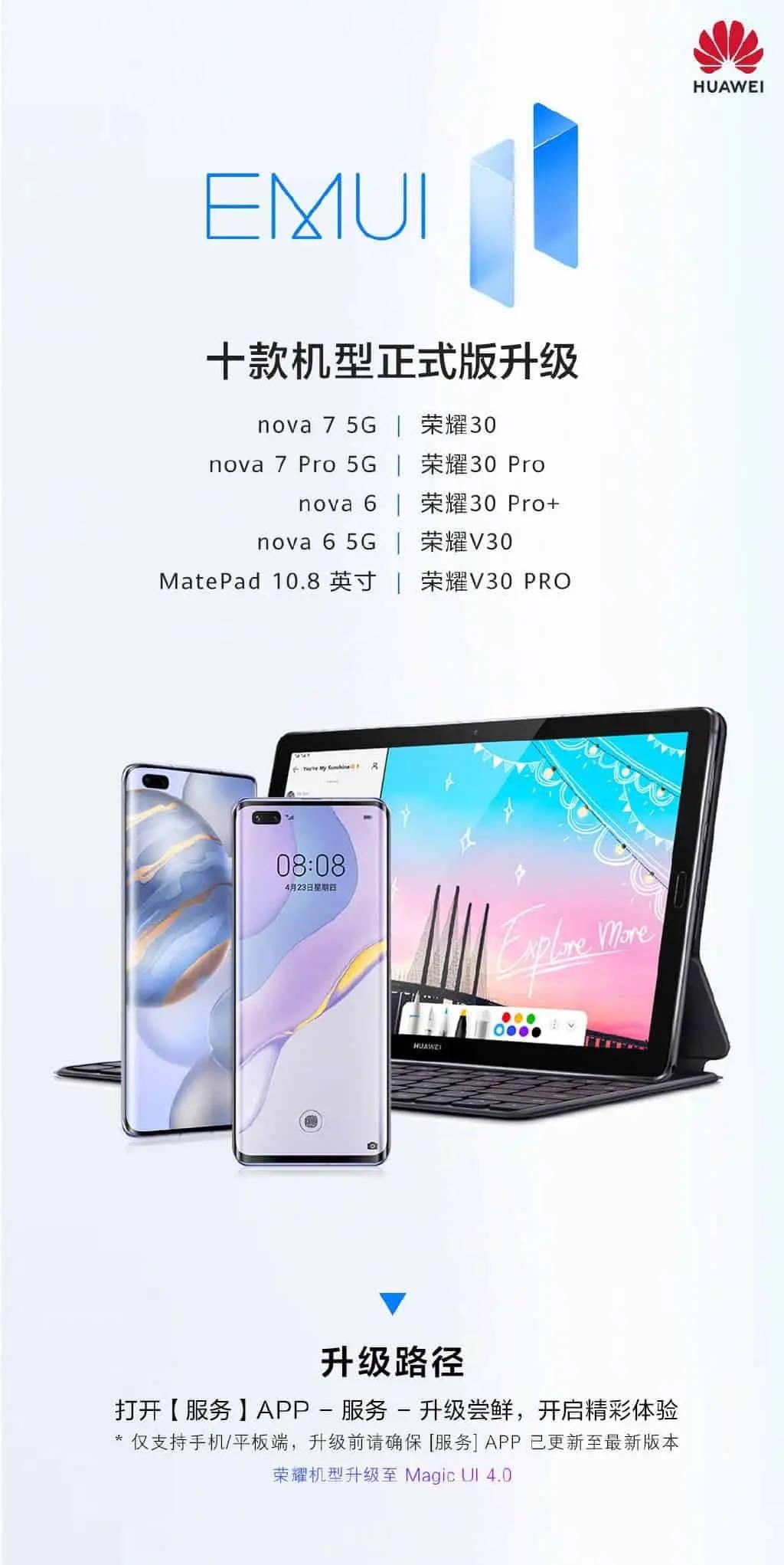aktualizacja EmuI 11 Stable dla Honor 30 Pro Huawei nova 7