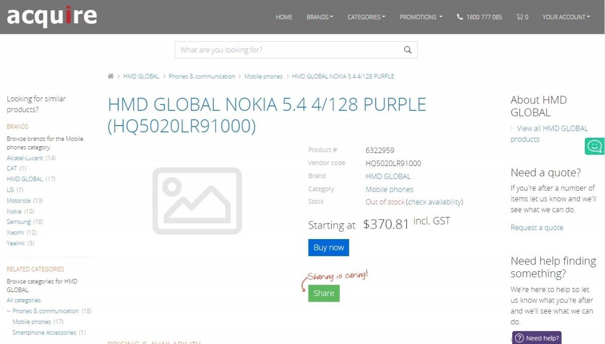 kiedy premiera HMD Global Nokia 5.4 cena specyfikacja techniczna dane techniczne