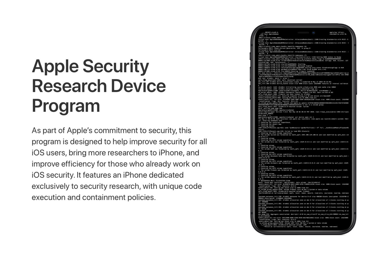 iPhone fabryczny jailbreak Apple Security Research Device Program