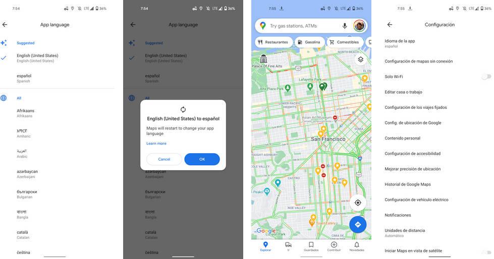 Mapy Google Maps zmiana języka